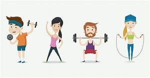 cartoon figures of exercising
